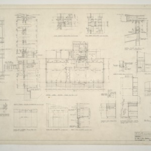 B. W. Smith Residence -- Elevation Details, Upper Level Floor Plan, Cabinet Details