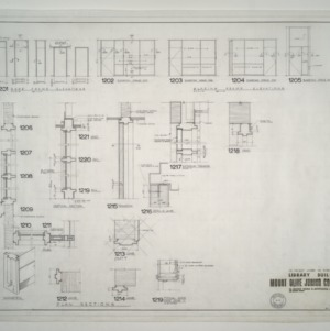 Mount Olive Junior College Library Building -- Door Frame Elevations, Plan Sections