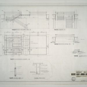 Mount Olive Junior College Library Building -- Second Floor Plan, Elevations, Stairway Brace Detail