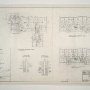NC State College Fraternity Housing -- House #1 - Main, Second, Third Floor Electrical Plan