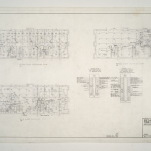 NC State College Fraternity Housing -- House #4 - Main, Second, Ground Floor Electrical Plan