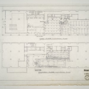 Branch Banking and Trust Co. Building -- Electrical Plan - First Floor and Basement