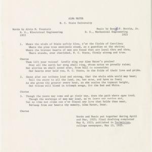 Alma Mater lyrics, N. C. State University, 1925