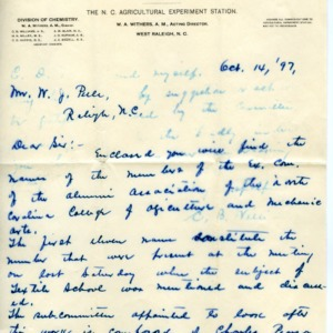 Letter from C. B. Williams to W. J. Peele with list of Extension members of the Alumni Association