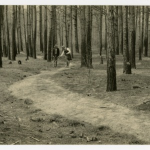 Men on path in North Carolina Forest