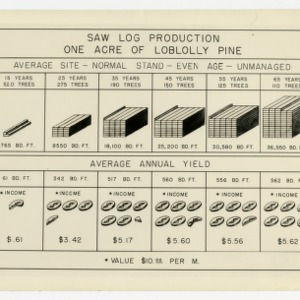 """Saw Log Production, One Acre of Loblolly Pine"" Chart :: Photographs"