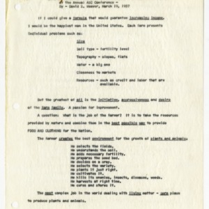 """Opportunities For Increasing Farm Income, An Outline of a Talk at the Annual ASC Conference,"" 1957"
