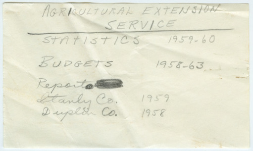 Statistics for Agricultural Extension Service salary data, 1959-1960
