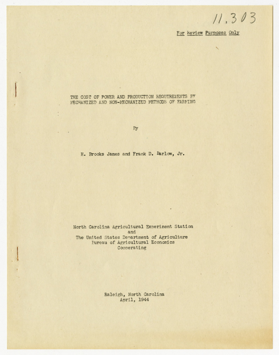 Writings on agricultural machinery and production, 1932-1945