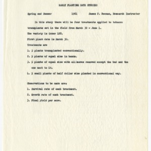Planting date studies data, 1961