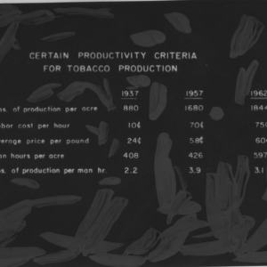 Tables on tobacco production, circa 1961-1962