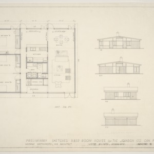 Johnson Residence -- Preliminary Sketches: Floor Plan and Exterior