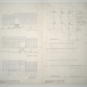 Woman's Day Douglas Fir Plywood Associates Vacation Home -- Elevations, foundation plan and roof plan