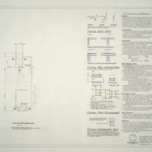 I.B.M. Branch Office Building -- Penthouse Roof Framing Plan, Structural Notes