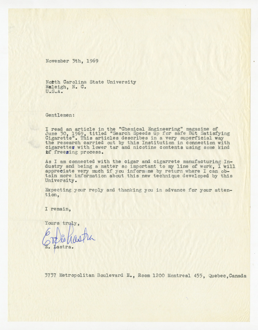 Correspondence related to freeze-dry process, 1969