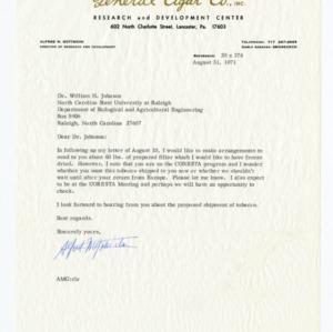 General Cigar Company correspondence, 1969-1971