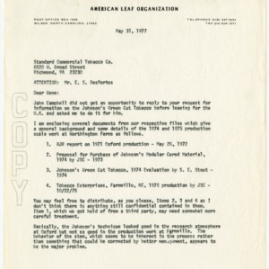 Imperial Tobacco Co., Ltd, 1977 letter & associated materials, 1971-1979