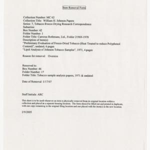 Carreras Rothmans Ltd., Folder 2, 1969-1978