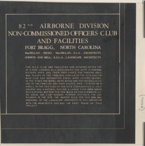 82nd Airborne Division Non-Commissioned Officers Club and Facilities --- Write up of landscaping project