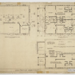 Basement, foundation, first floor and roof plans