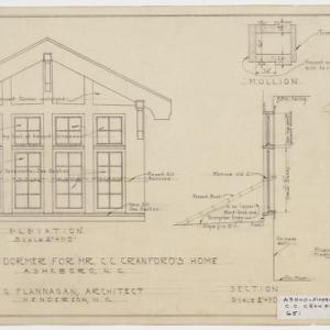 Dormer window elevation and hardware details