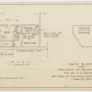 Bathroom floor plan and interior elevation