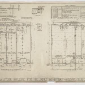 Basement, foundation, first floor plans and door schedules