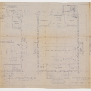 Floor plans and cross sectional elevation