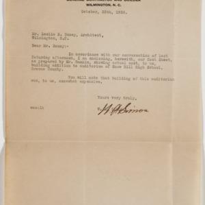 Letter concerning costs