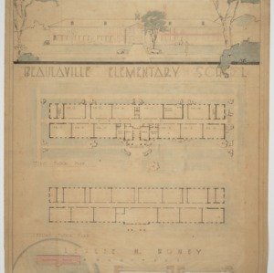 Elevation, floor plans, and photograph collage