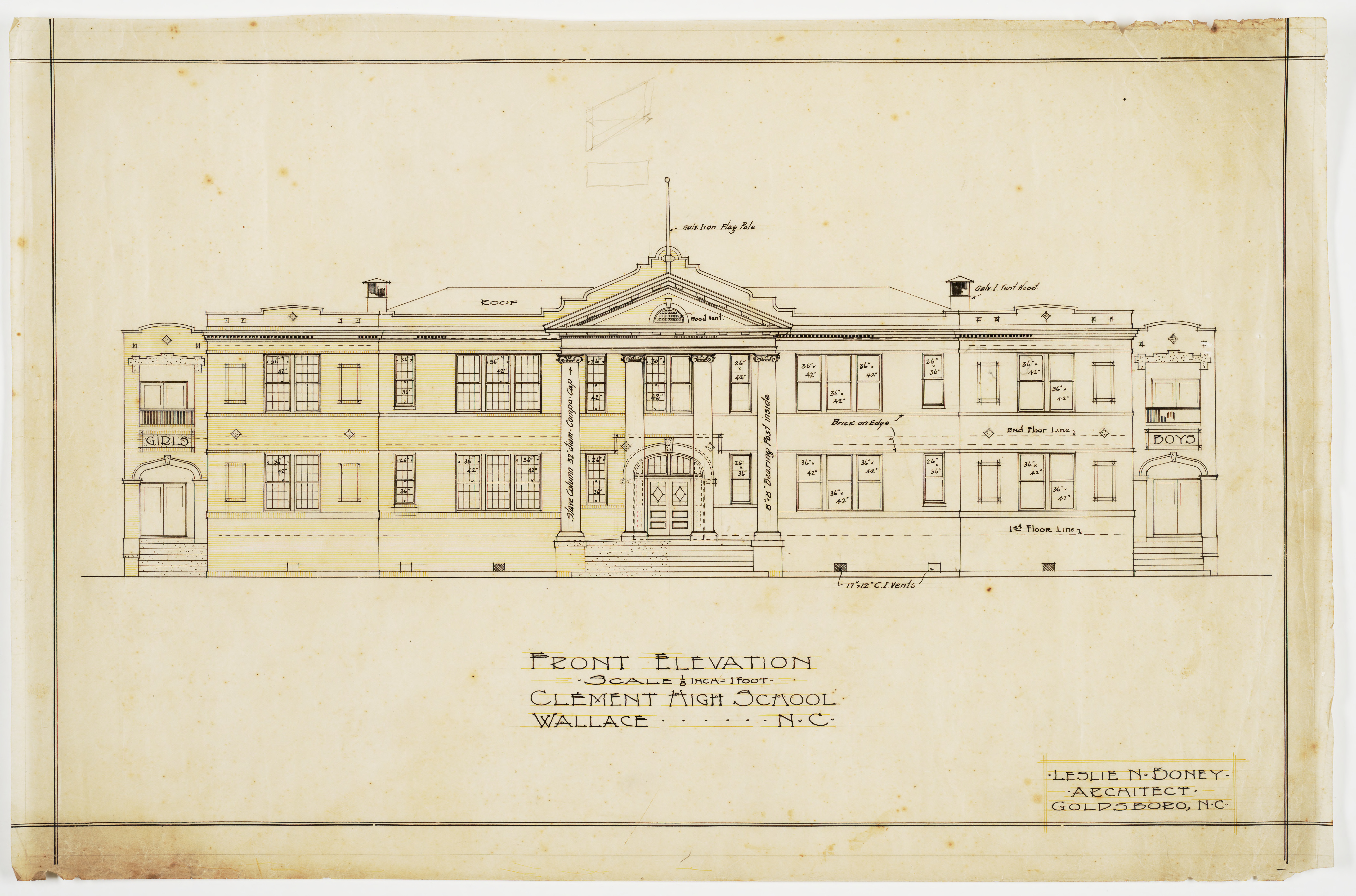 Front Elevation School Building : Front elevation clement school wallace n c mc