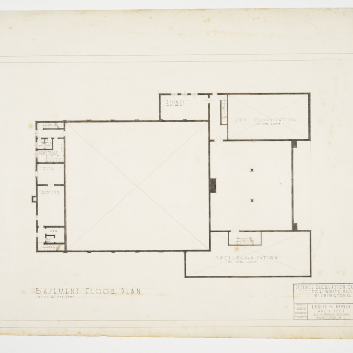 Basement Floor Plan, Defence Recreation Center for White Men