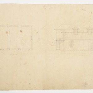 First Floor Plan and West Elevation