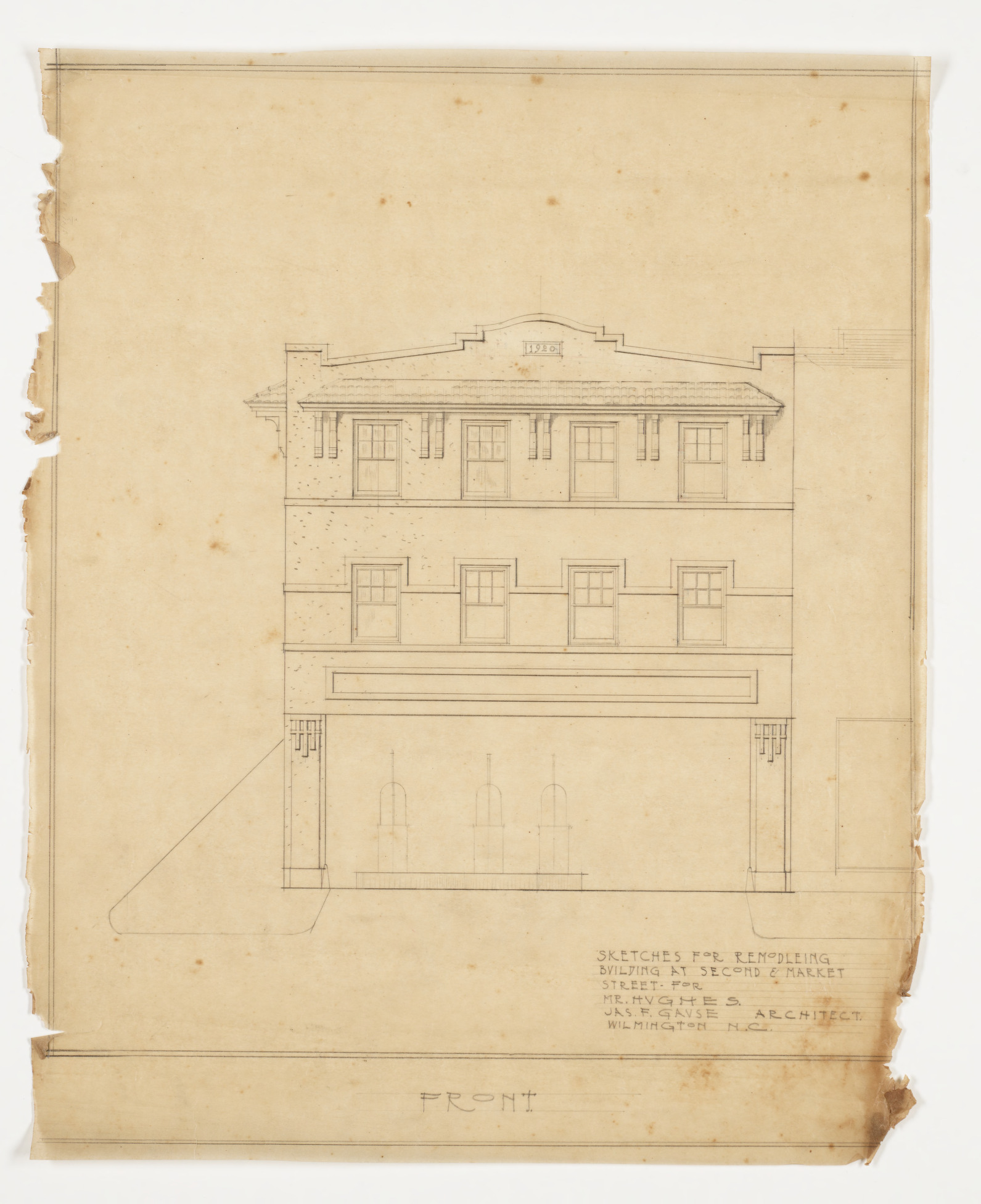 Front Elevation Sheets : Front elevation hughes building wilmington n c