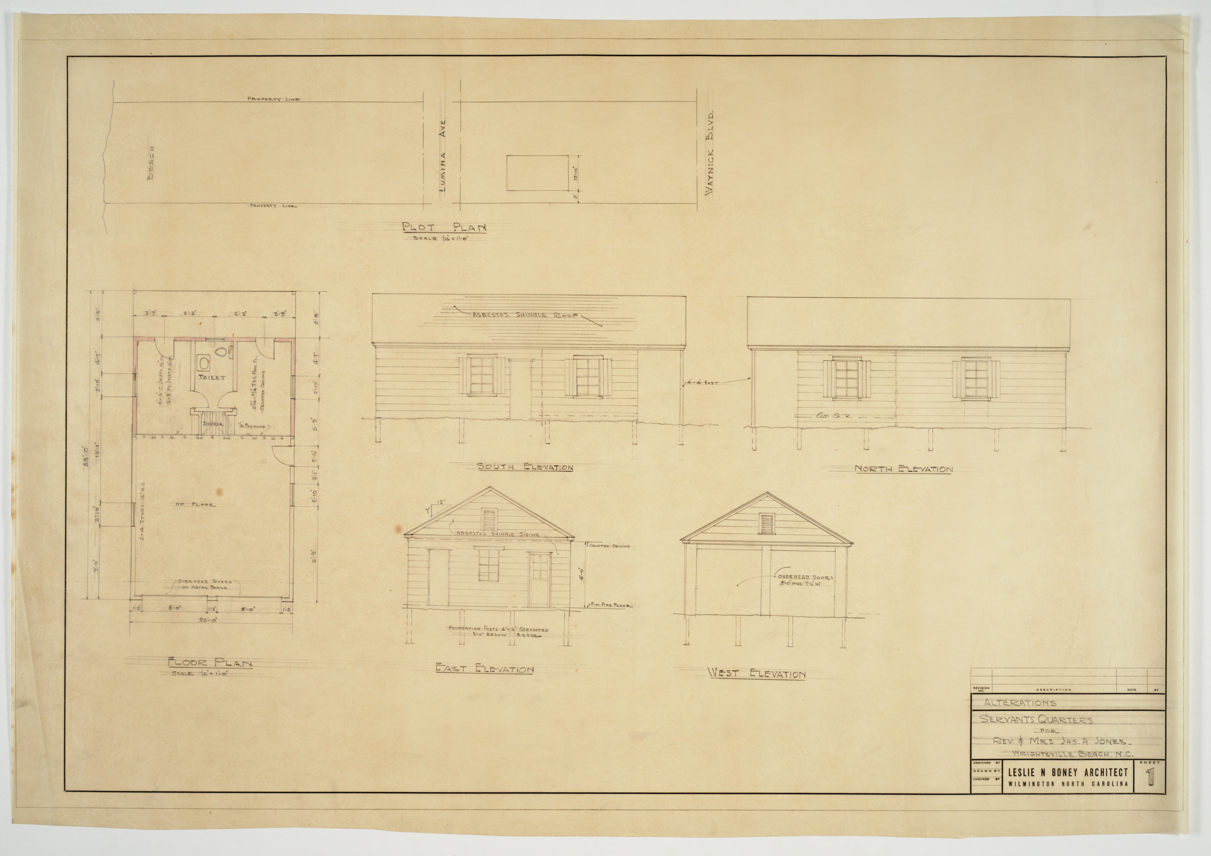 Floor pan site plan and elevations for servants quarters Servant quarters floor plans