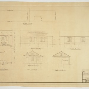 Floor pan, site plan and elevations for servants quarters