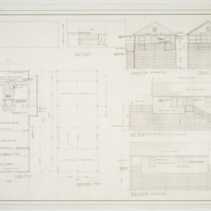 Floor plan, foundation plan, site plan, and elevations