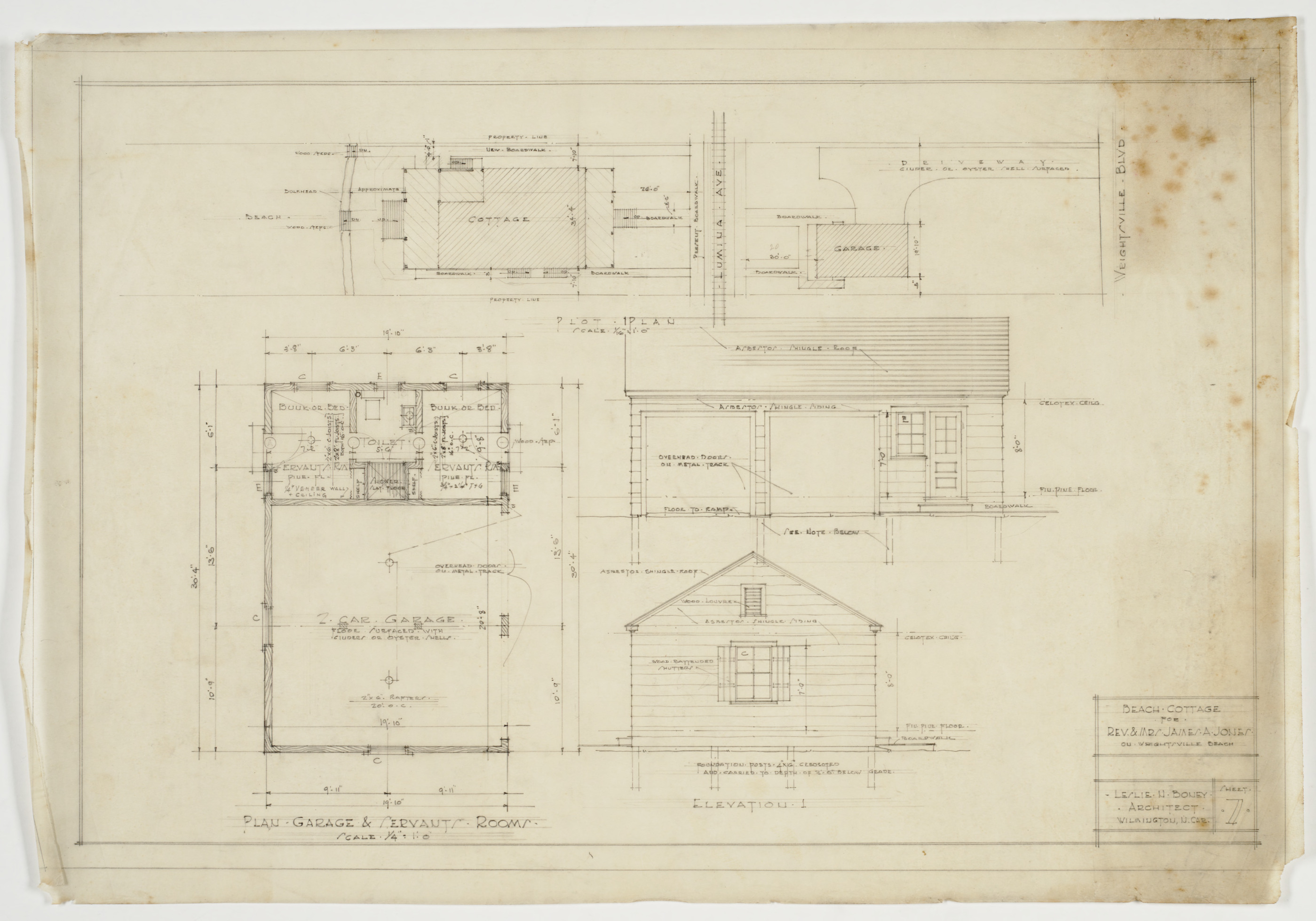 Floor plan site plan and elevations for garage and Servant quarters floor plans