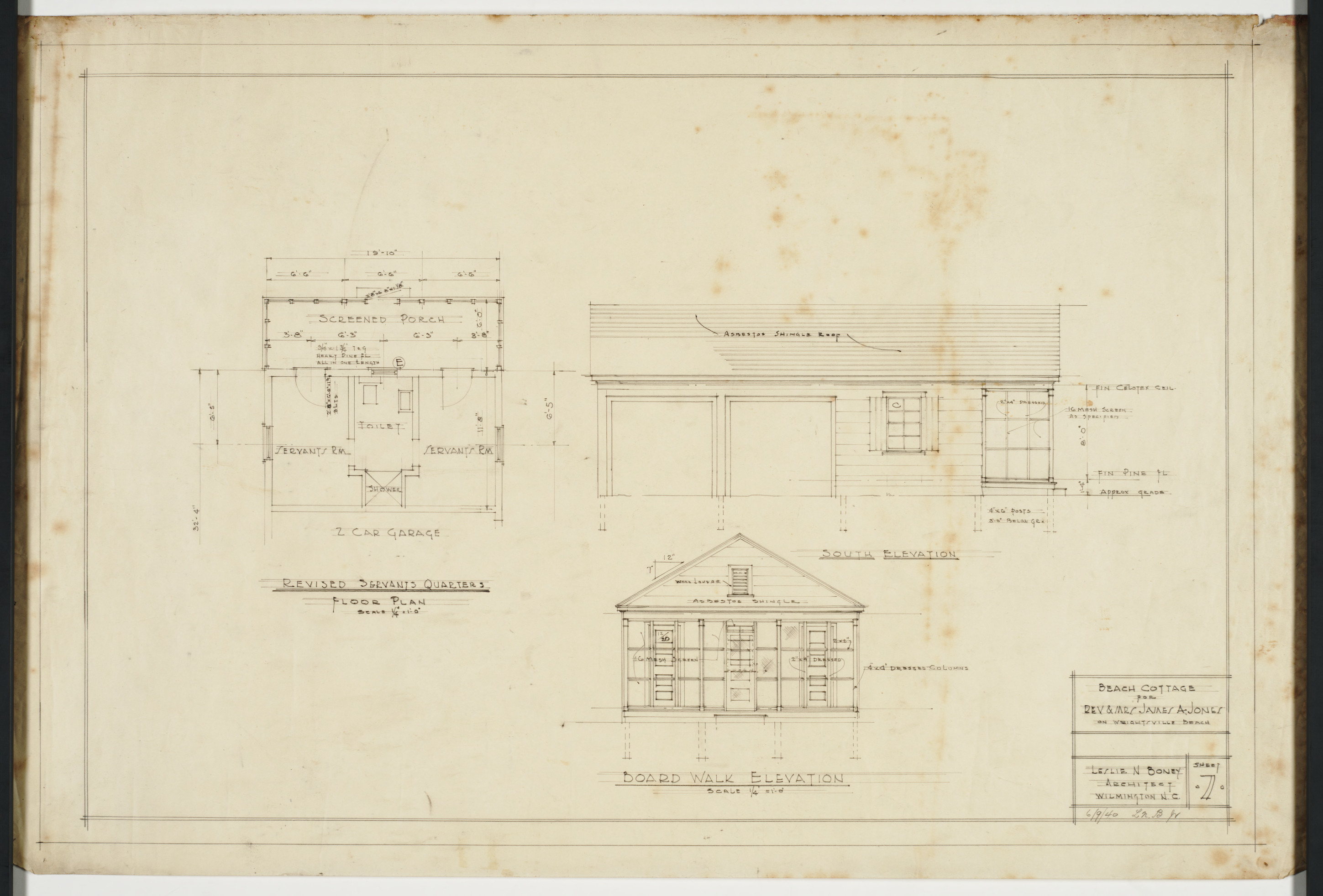 Floor plan and elevations for servants quarters and garage Servant quarters floor plans