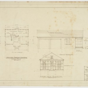 Floor plan and elevations for servants quarters and garage