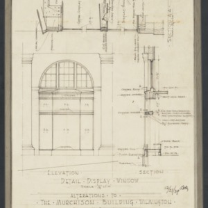 Window elevation detail and sectional elevation