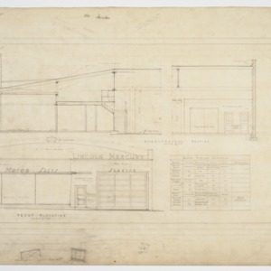 Front elevation and longitudinal section