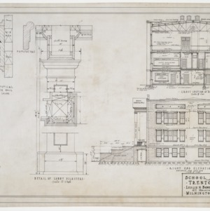 Right elevation, sectional elevation and pilaster details