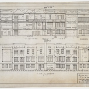 Rear and sectional elevation