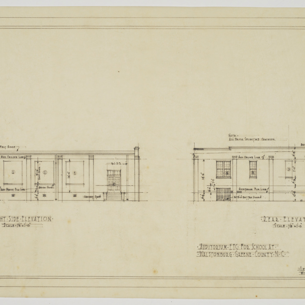 Right side and rear elevation