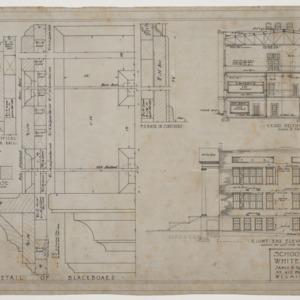 End elevation, sectional elevation and blackboard details