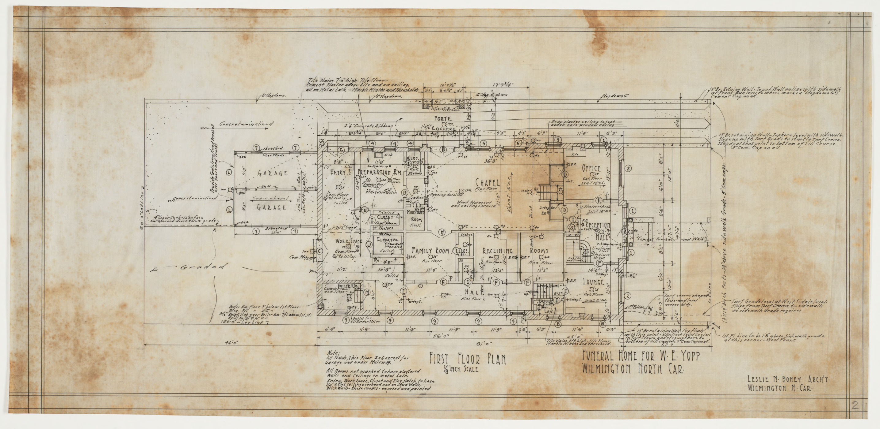 Funeral Home Floor Plans: First Floor Plan (W. E. Yopps Funeral Home (Wilmington, N