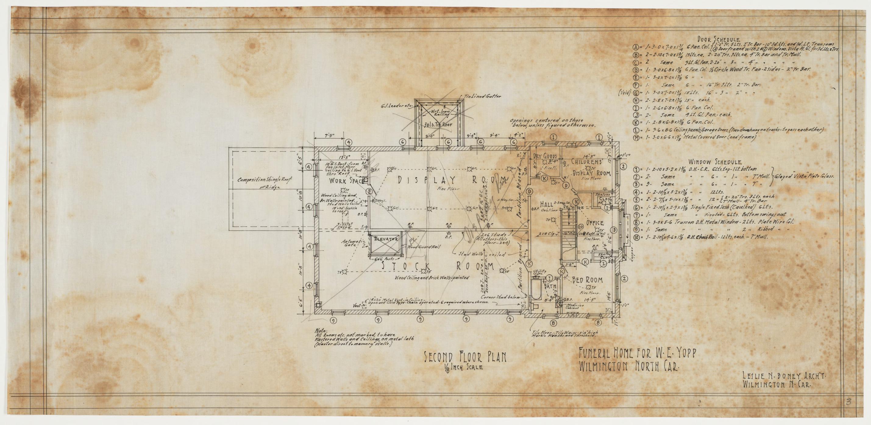 Funeral Home Floor Plans: Second Floor Plan, Window And Door Schedules (W. E. Yopps
