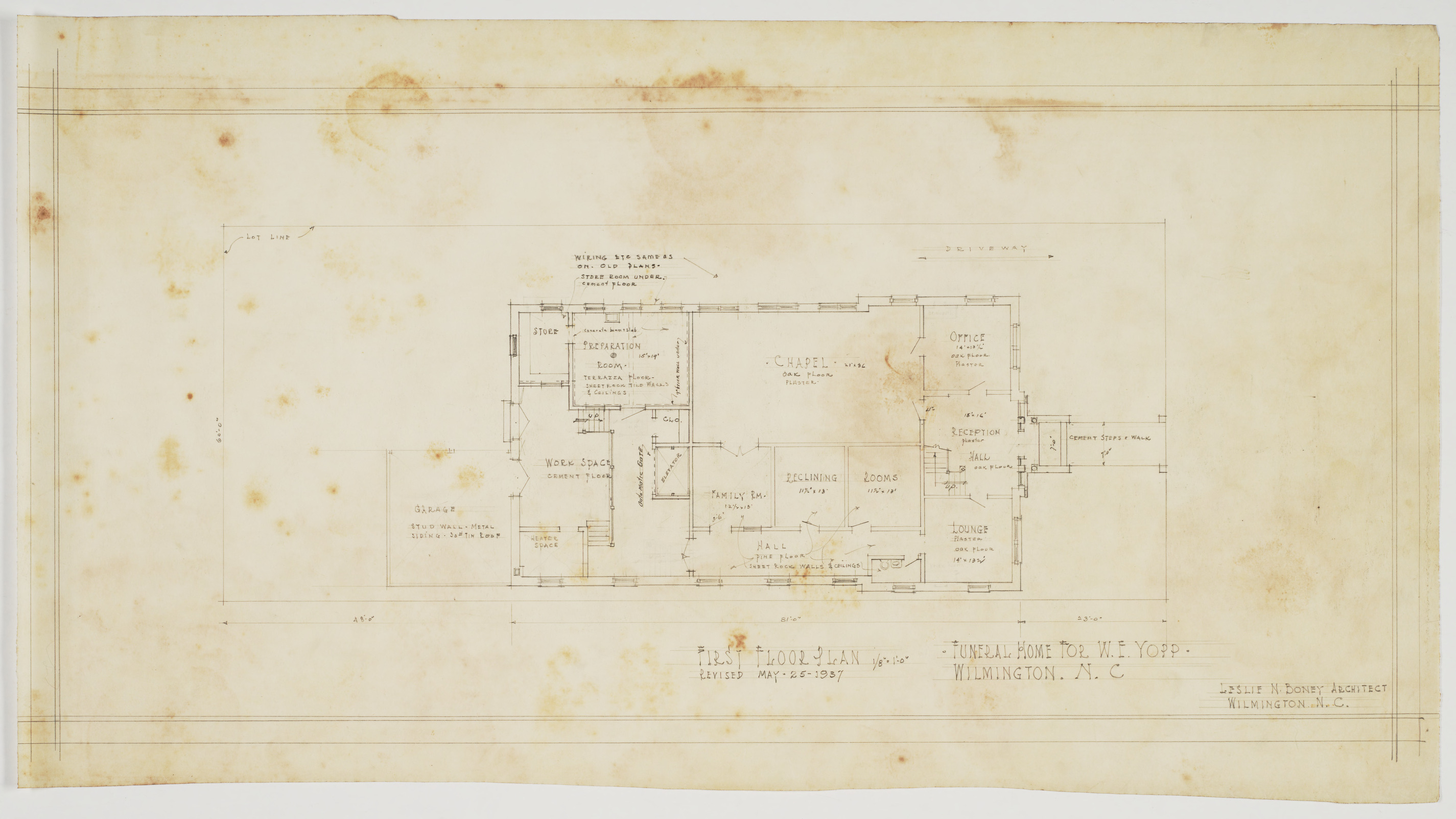 First Floor Plan (W. E. Yopps Funeral Home (Wilmington, N