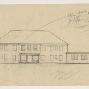 Dosher Memorial Hospital -- Front sketch